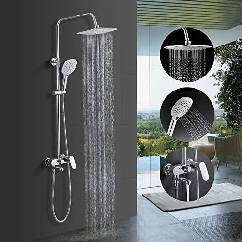 Columna de ducha con ducha fija de 9 pulgadas + ducha de mano + columna de ducha con soporte de pared y grifo - marca Bonade